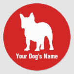 Personalized French Bulldog フレンチ・ブルドッグ Round Stickers