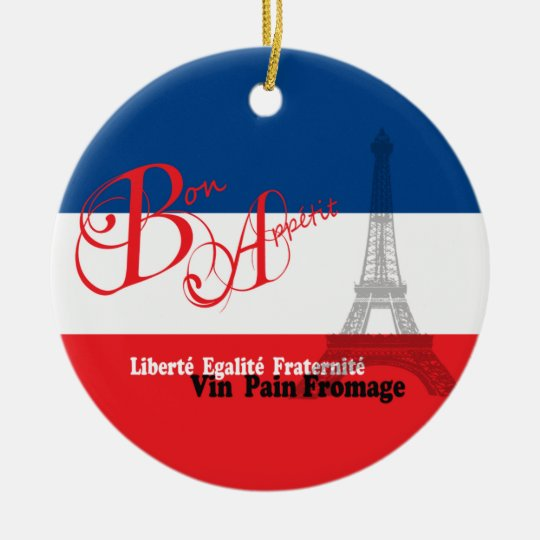 Personalized French Flag Eiffel Tower Bon Appetit Ceramic Ornament