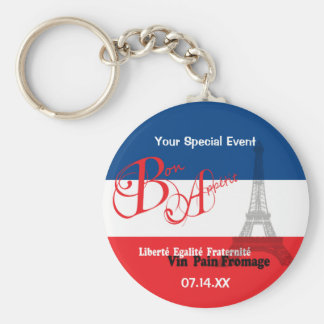 Personalized French Flag Eiffel Tower Bon Appetit Keychain