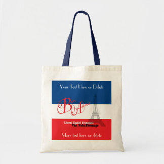 Personalized French Flag Eiffel Tower Bon Appetit Tote Bag