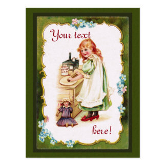 Personalized French Girl Baking Sweets Postcard