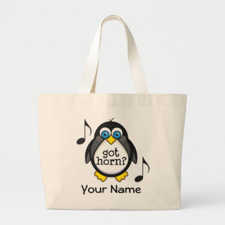 Personalized French Horn Music Penguin Large Tote Bag