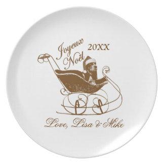 Personalized French Joyeux Noel Basset Hound Dog Dinner Plate