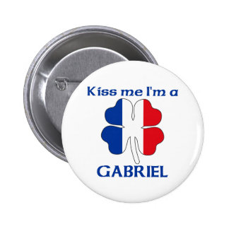 Personalized French Kiss Me I'm Gabriel Pinback Buttons