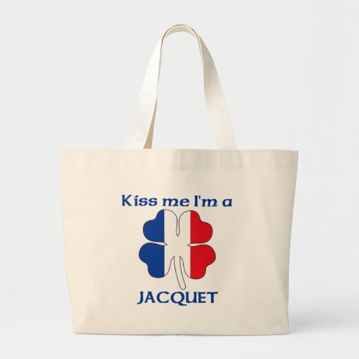 Personalized French Kiss Me I'm Jacquet Canvas Bags