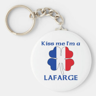 Personalized French Kiss Me I'm Lafarge Basic Round Button Keychain