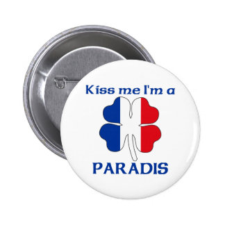 Personalized French Kiss Me I'm Paradis Pinback Buttons
