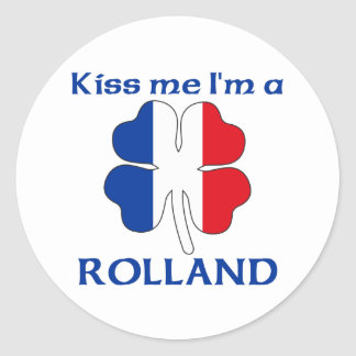 Personalized French Kiss Me I'm Rolland Classic Round Sticker