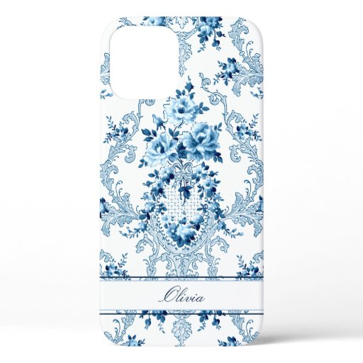 Personalized French Rococo Blue & White Floral iPhone 12 Case