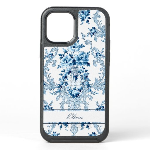 Personalized French Rococo Blue & White Floral OtterBox Symmetry iPhone 12 Case