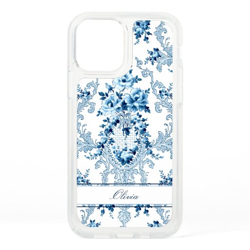 Personalized French Rococo Blue & White Floral Speck iPhone 12 Case