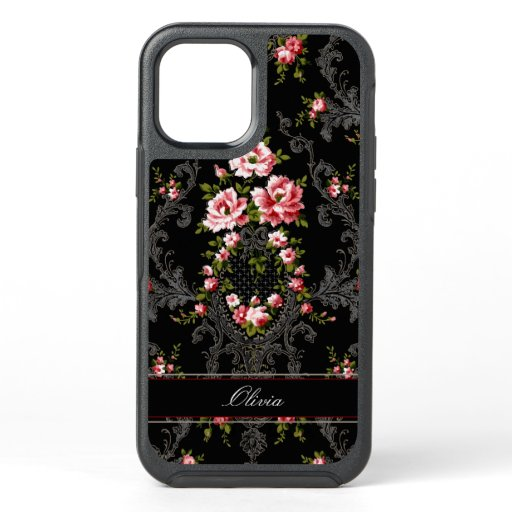 Personalized French Rococo Floral-Black Background OtterBox Symmetry iPhone 12 Case