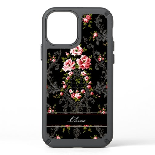 Personalized French Rococo Floral-Black Background Speck iPhone 12 Case