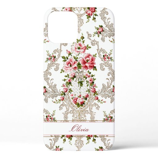 Personalized French Rococo Floral-White Background iPhone 12 Case