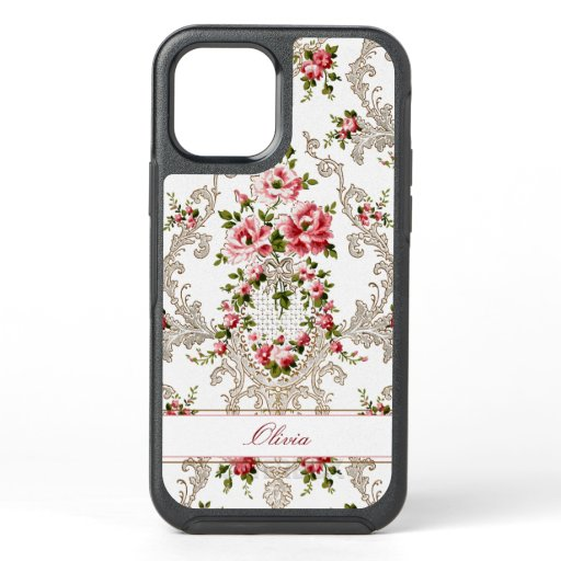 Personalized French Rococo Floral-White Background OtterBox Symmetry iPhone 12 Case
