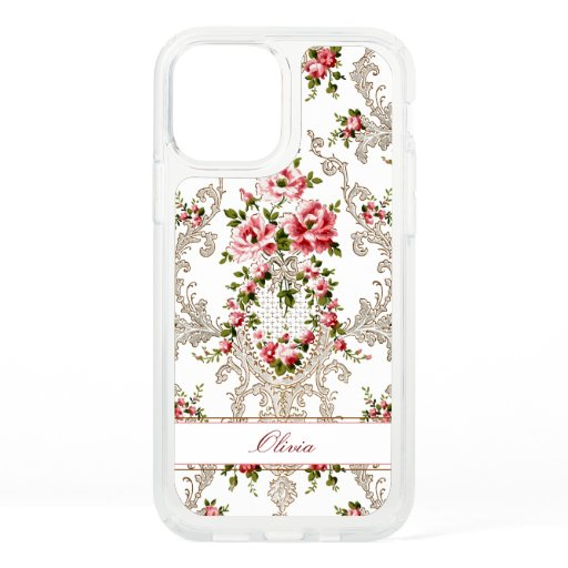 Personalized French Rococo Floral-White Background Speck iPhone 12 Case