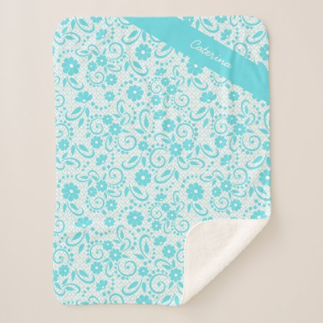 Personalized fresh aqua green simple floral sherpa blanket