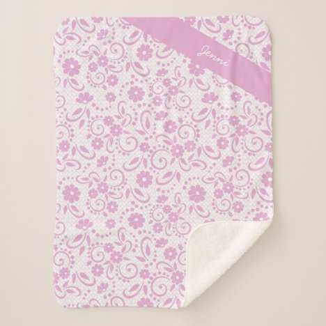 Personalized fresh pink and white simple floral sherpa blanket