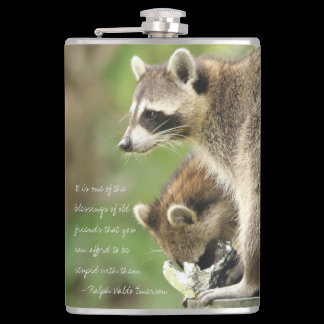 Personalized Friends & Blessings Friendship Raccoo Flask