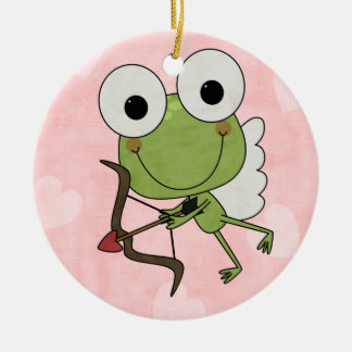 Personalized Frog Cupid Valentine Ornament