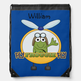 Personalized Frog Helicopter Pilot Drawstring Bag