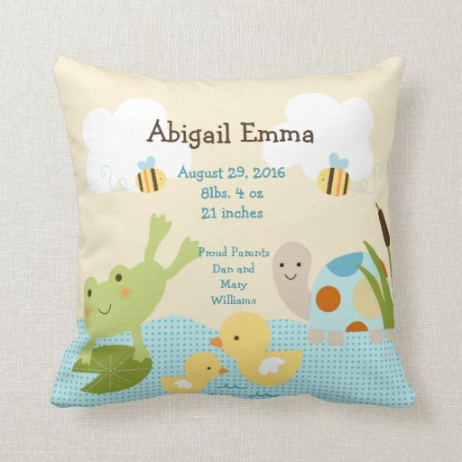 Personalized Frog in a Pond/Turtle Pillow Keepsake