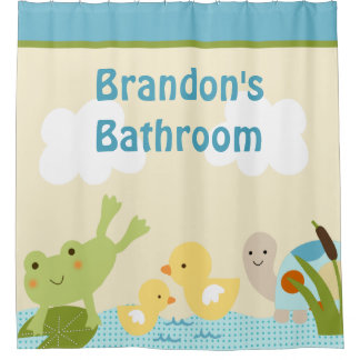 Personalized Frog in the Pond Kid's Shower Curtain