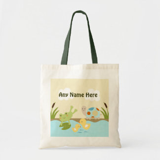 Personalized Frog in the Pond Tote Bag