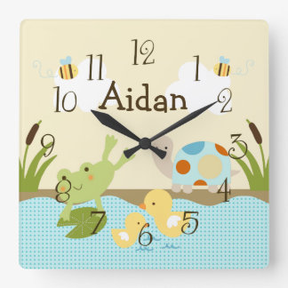 Personalized Frog n the Pond/Turtle Nursery Clock