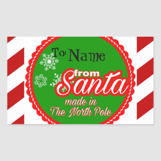 Personalized From Santa kids Christmas Rectangular Sticker