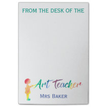 Personalized From The Desk of Art Teacher Colorful Post-it Notes