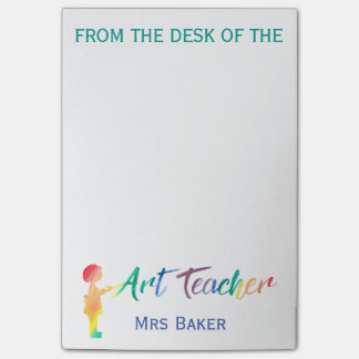Personalized From The Desk of Art Teacher Colorful Post-it® Notes