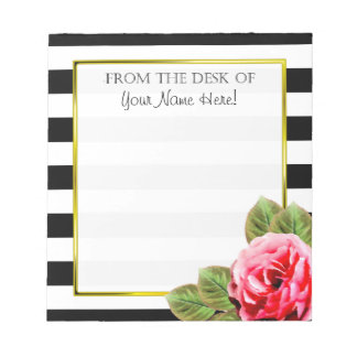 Personalized From The Desk Of For Women Pink Rose Notepad