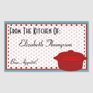 Personalized From The Kitchen Of with Red Dots Rectangular Sticker