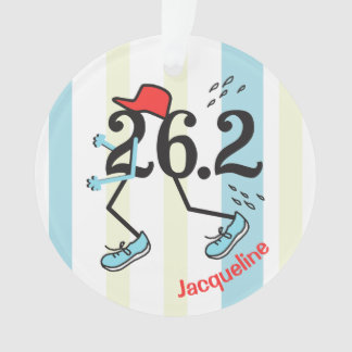 Personalized Front Back Funny Marathon Runner 26.2 Ornament