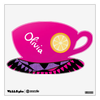 Personalized Fruit Pattern Tea Cup Wall Decal