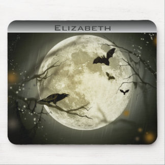 Personalized Full Moon with bats and Raven Mouse Pad