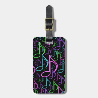 Personalized Fun Bright Neon Eighth Note Collage Bag Tag