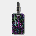 Personalized Fun Bright Neon Eighth Note Collage Tag For Luggage