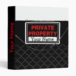 Personalized Fun Cool - Private Property Sign Binder