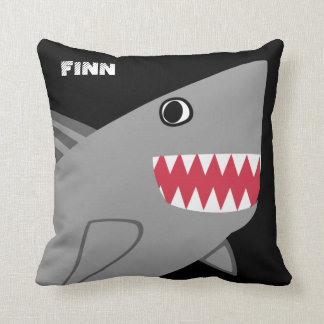 Personalized Fun Gray Shark on Black Throw Pillow