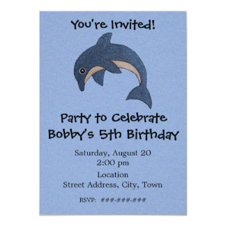 Personalized Fun Jumping Birthday Party Dolphin Card