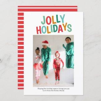 Personalized Fun Photo Jolly Holidays Christmas Holiday Card