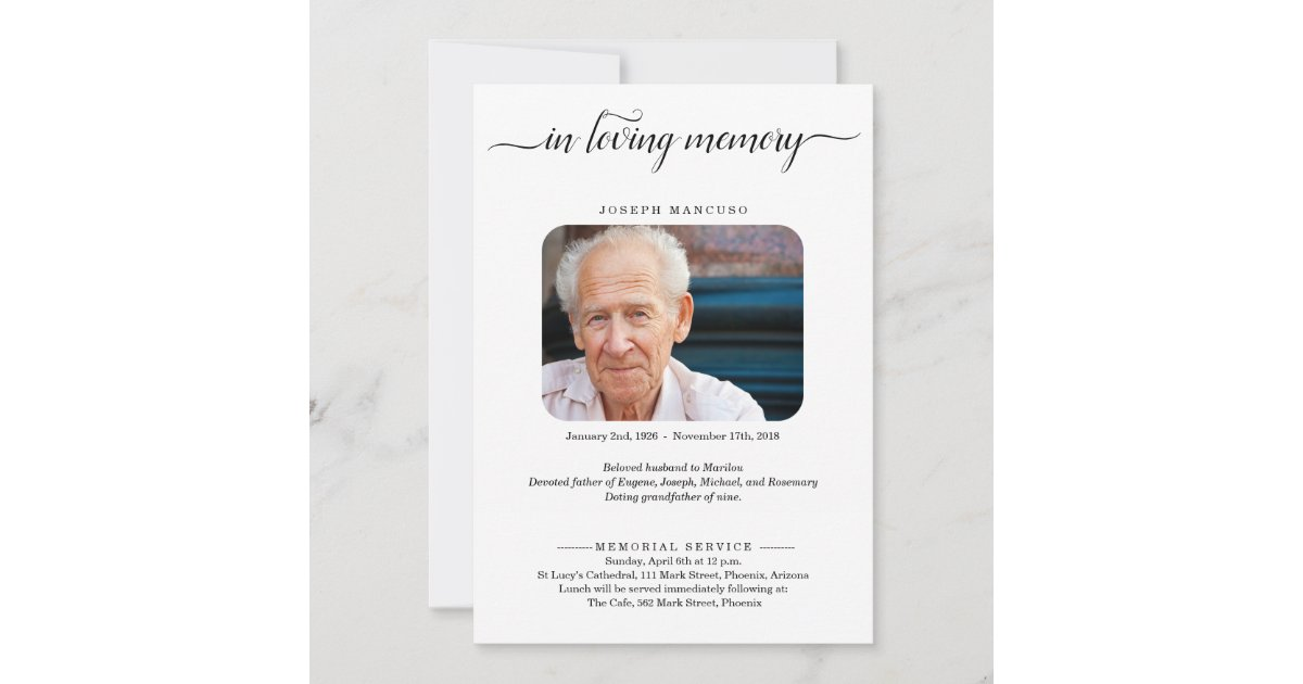 Personalized Funeral Announcement With Photo Zazzle Com
