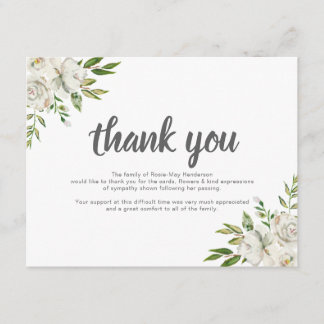 Personalized Funeral Thank You Note | Behreavement