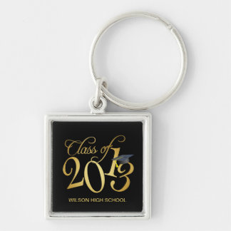 Personalized Funky Black and Gold Class of 2013 Keychain