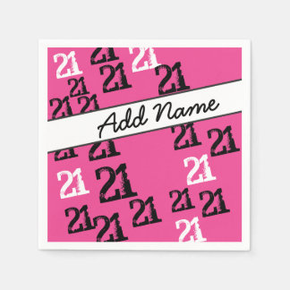 Personalized Funky Black Pink 21st Birthday Paper Napkin