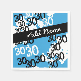Personalized Funky Black White Blue 30th Birthday Paper Napkins