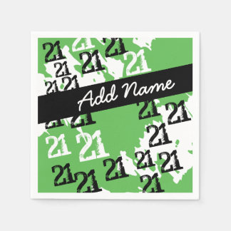 Personalized Funky Black White Green 21st Birthday Paper Napkins