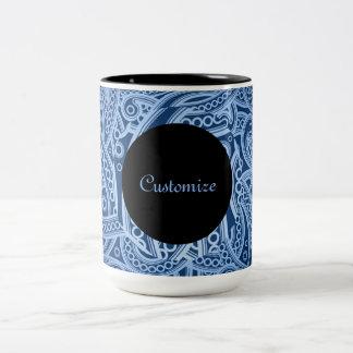 Personalized Funky Blue Paisley Pattern Mug
